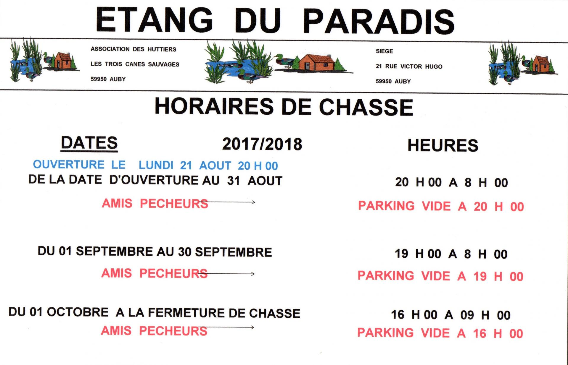 Horaire chasse 2017 auby